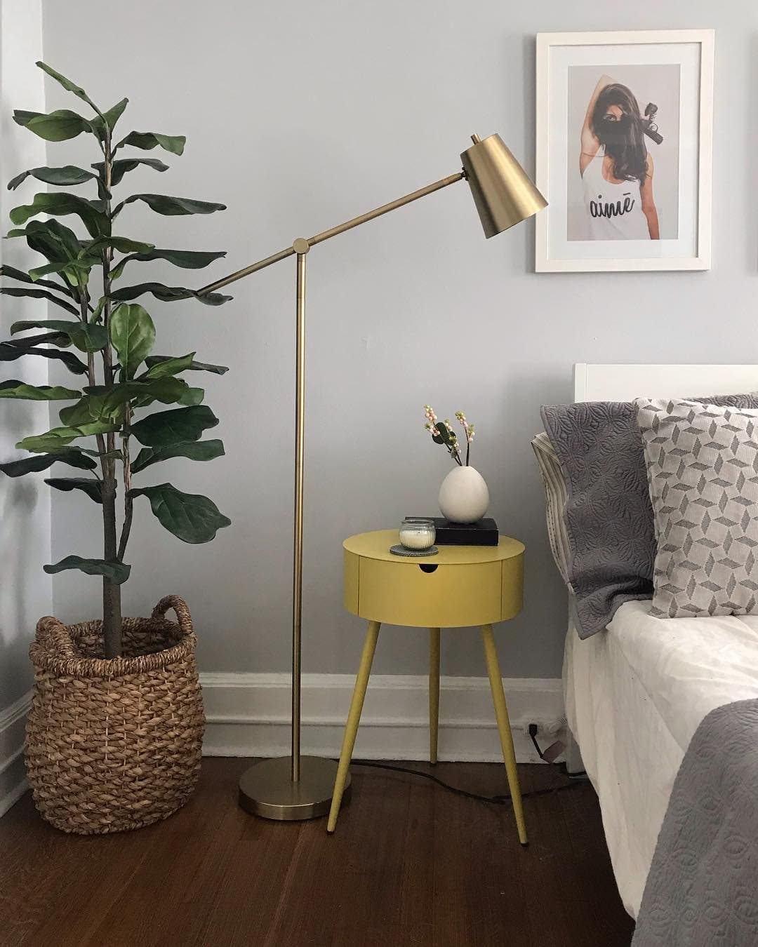 this is a mid century modern bedroom with light grey