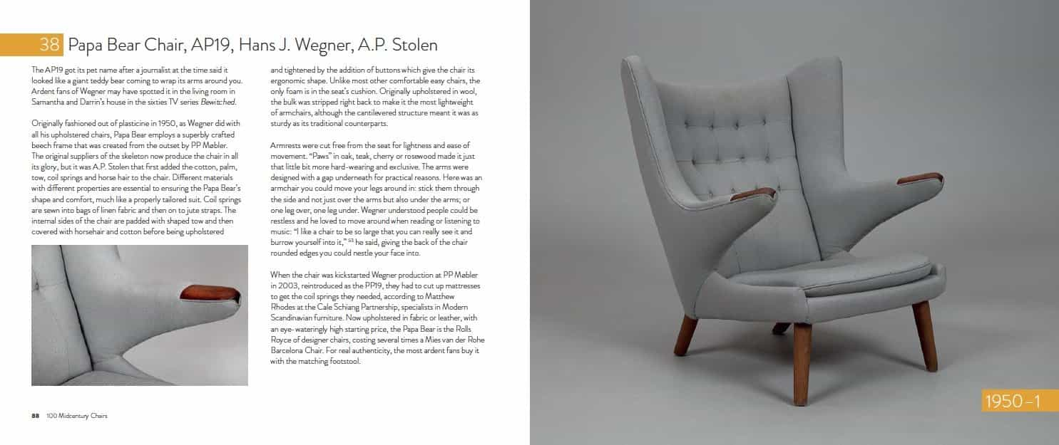 this is inside the book 100 mid century chairs and their stories