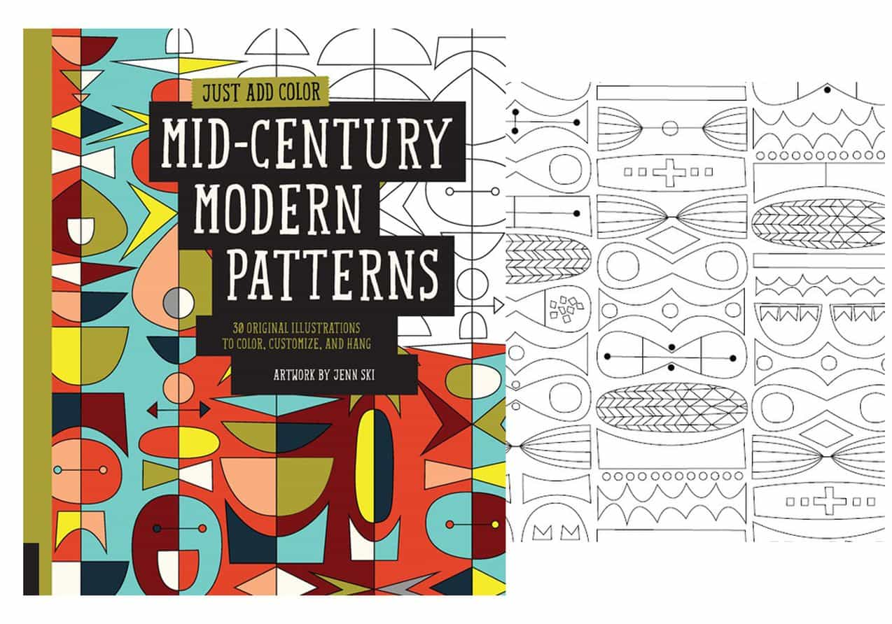 this is inside the mid century modern patterns colouring book