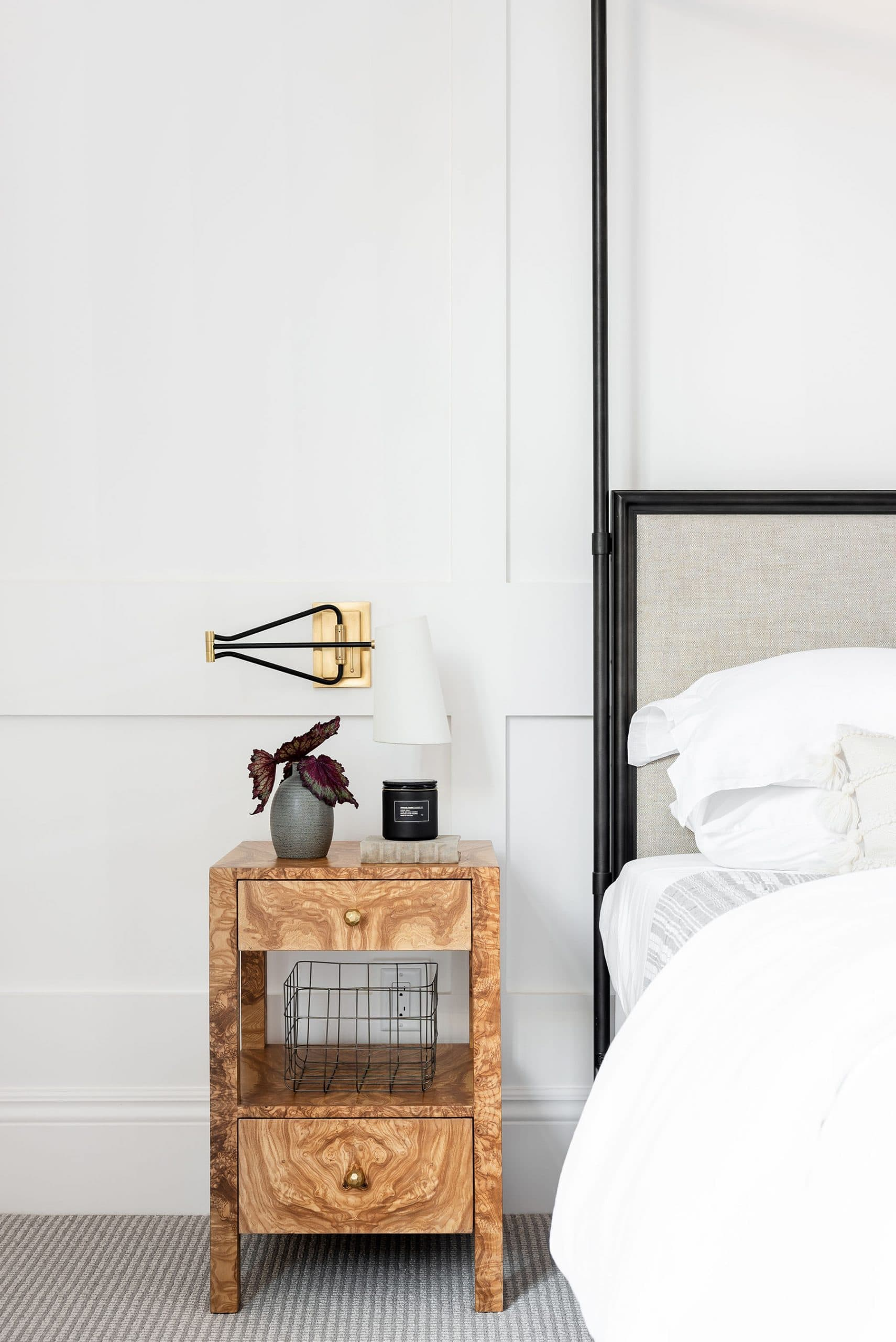 this is a farmhouse inspired bedroom by studio mcgee with white colour palette