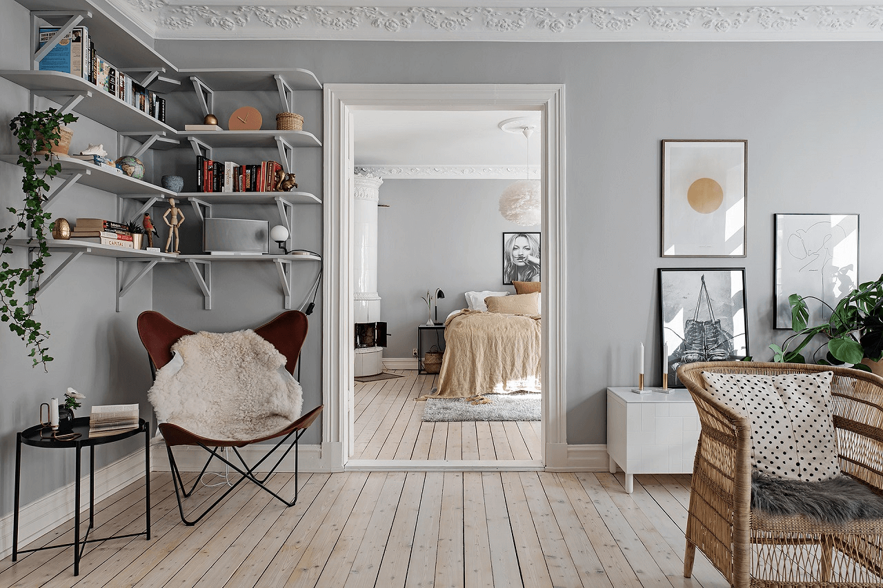 this is a relaxed and peaceful styled scandinavian apartment