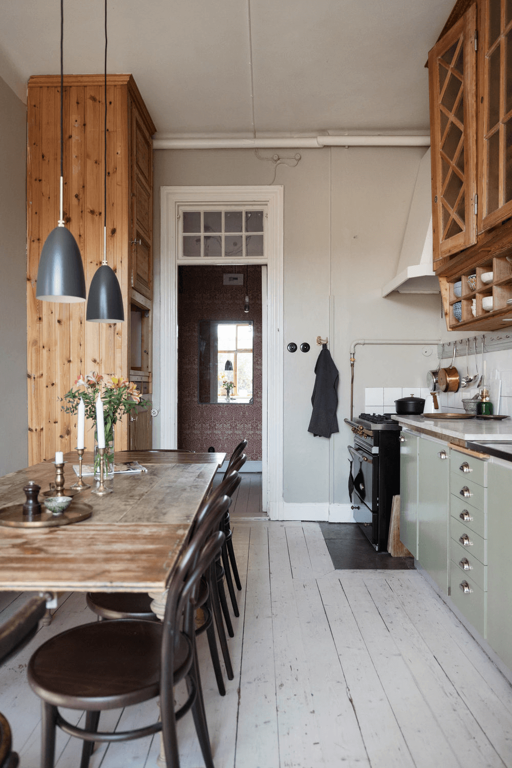 this is a scandinavian styled kitchen in an apartment