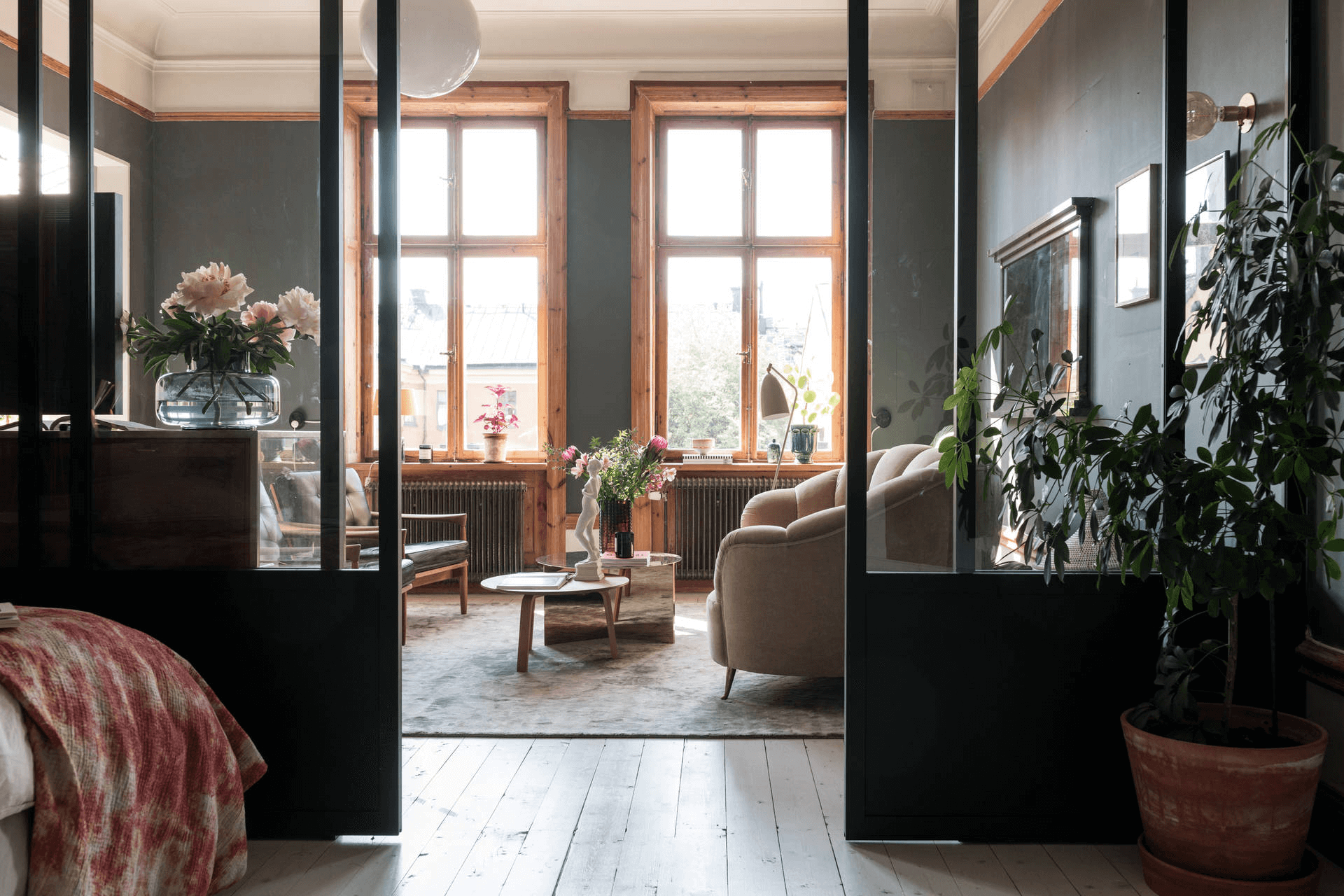 this is a vintage, industrial and scandinavian styled apartment with natural light beaming through giving it a nice feeling