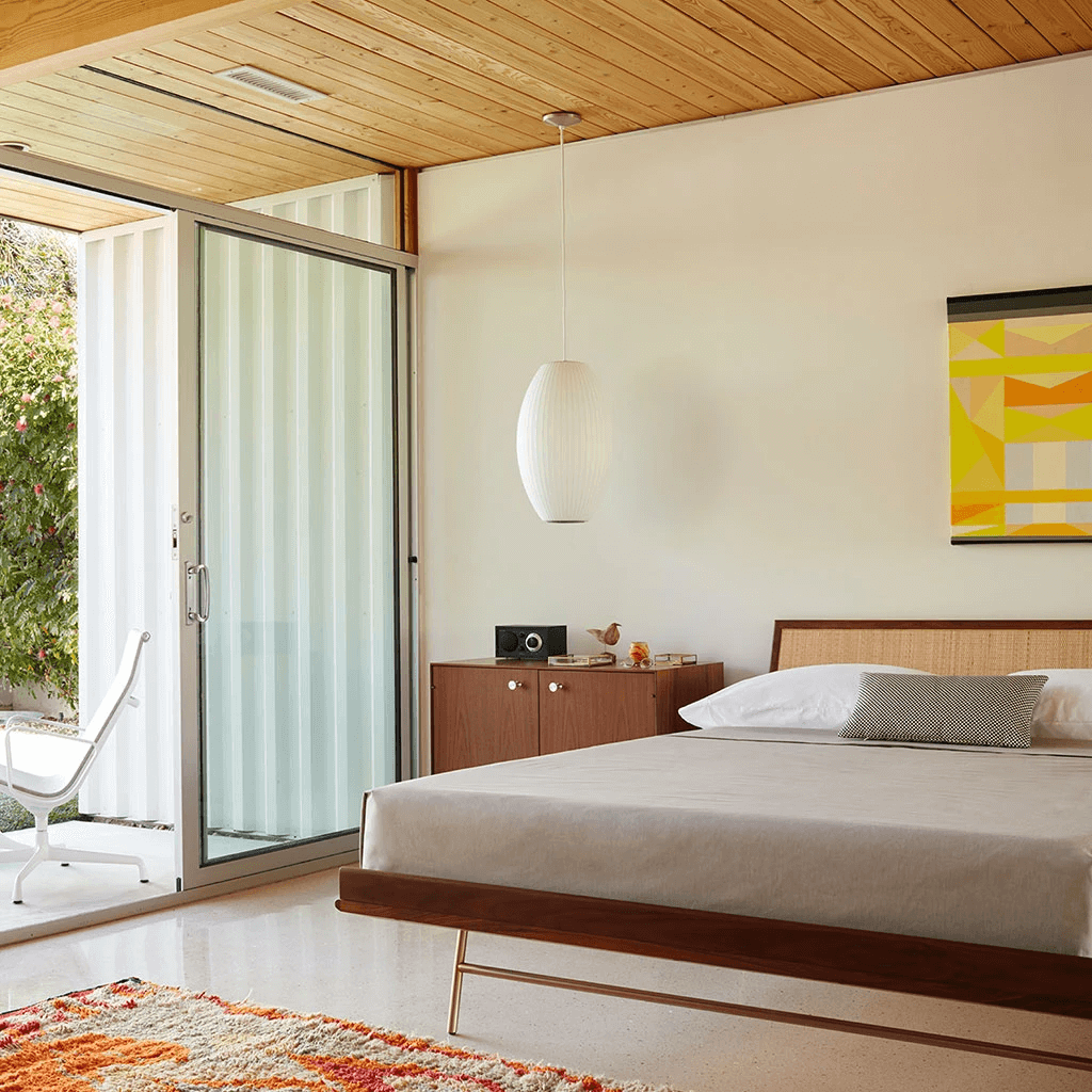this is the Nelson Twin Edge Bed by George Nelson, designed for the perfect mid century modern bedroom with a sleek human centred design
