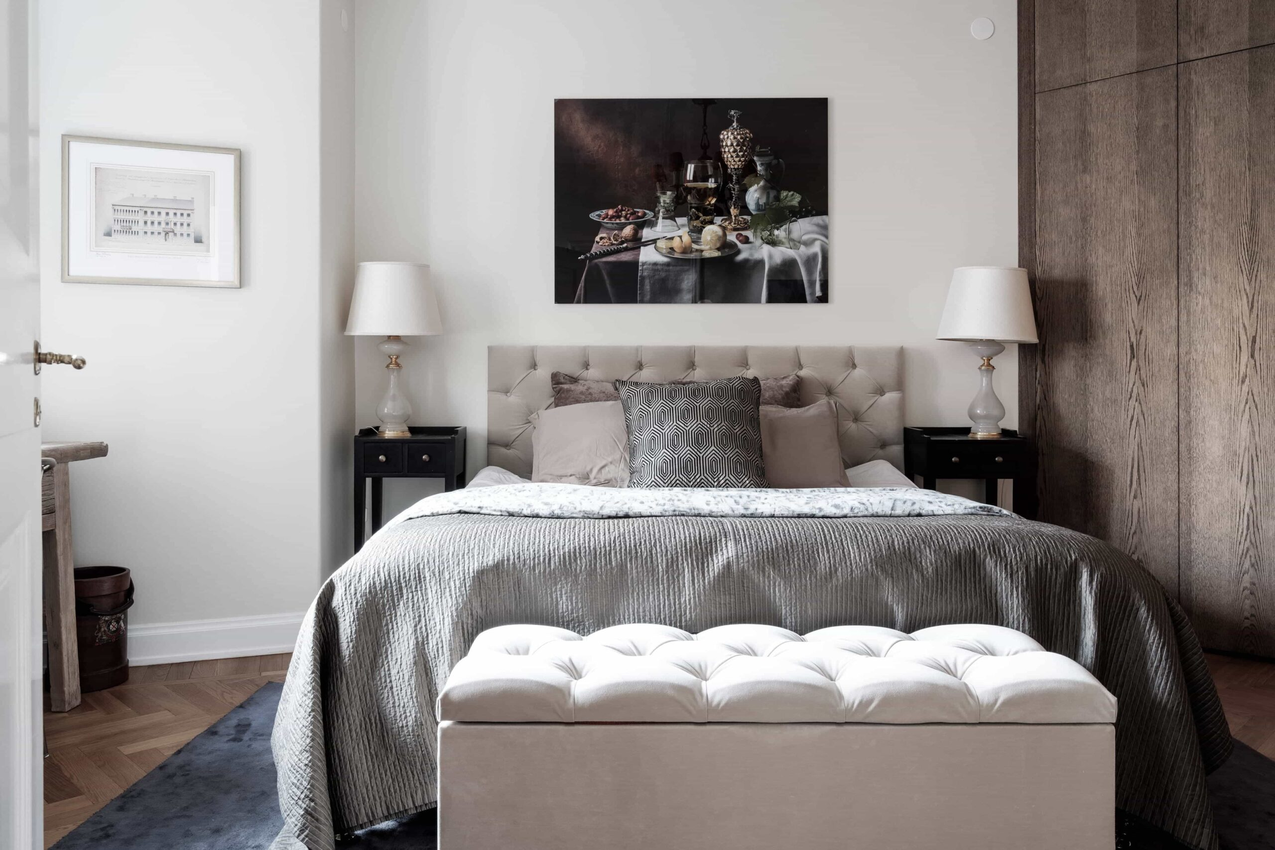 this is a scandinavian bedroom with vintage elements