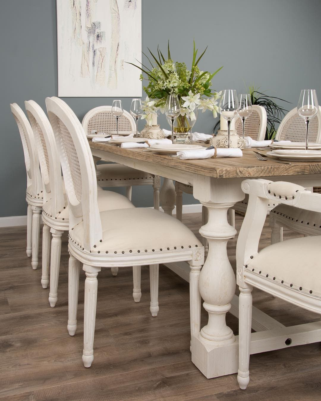this is a shabby chic inspired dining table and chairs by sustainable furniture