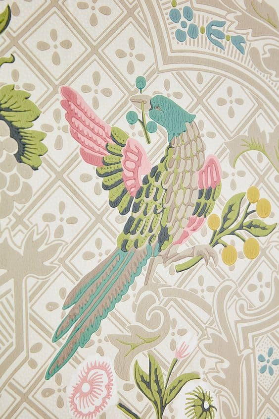 this is a wallpaper by little greene with pastel shades and a bird
