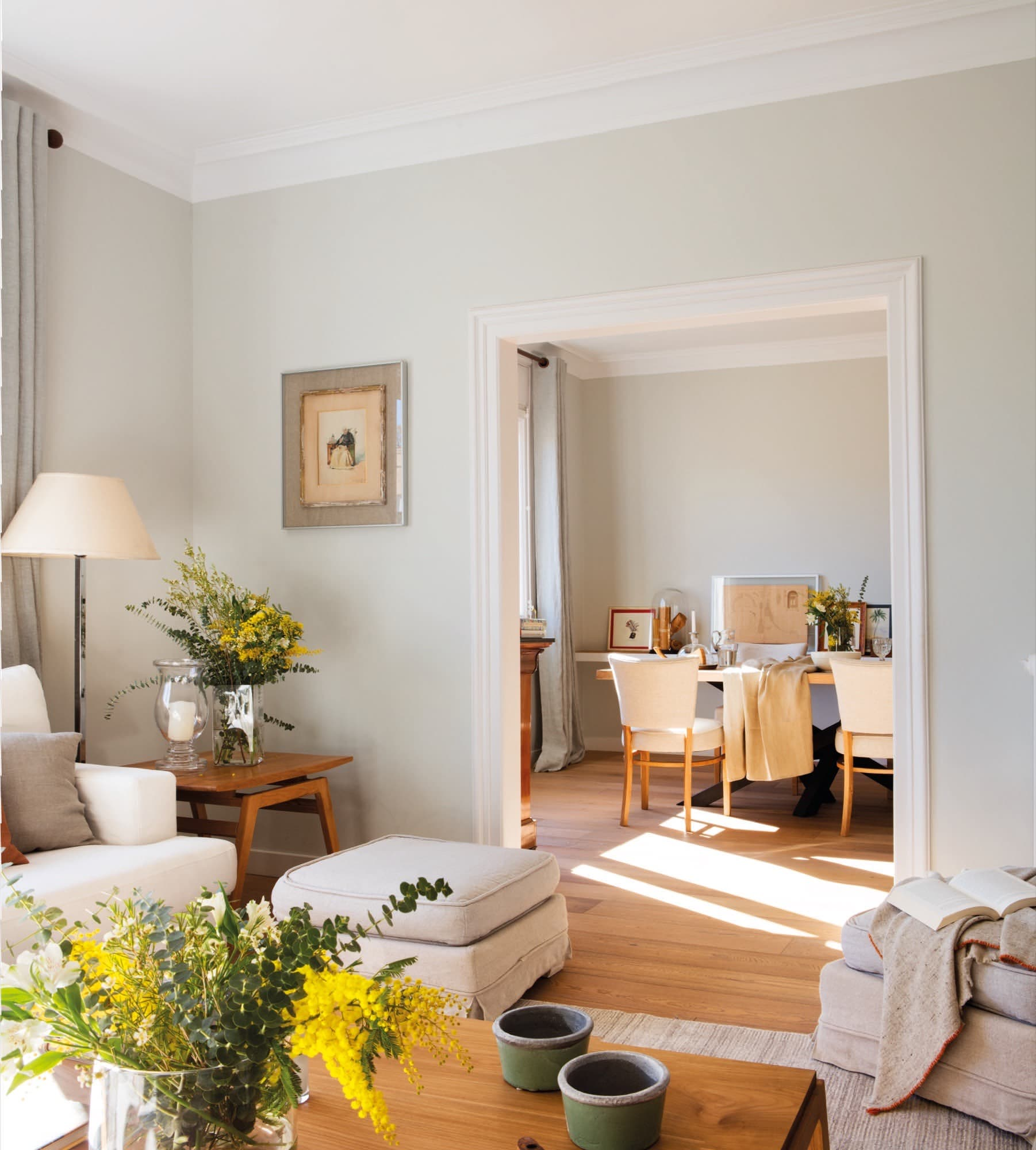 with is a shabby chic living room with pastel green walls