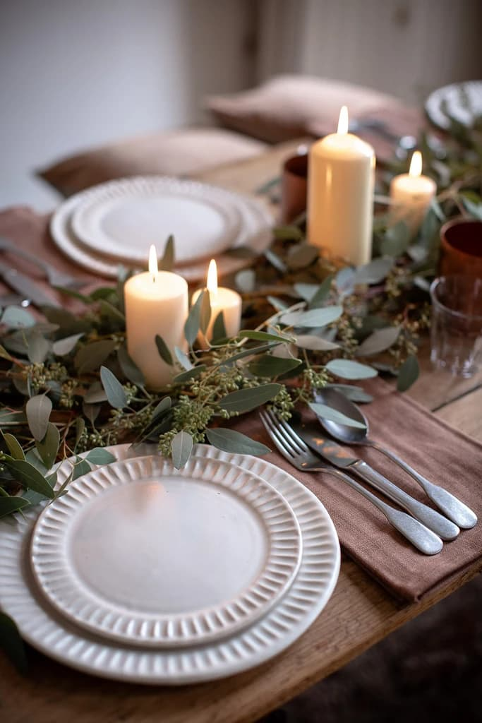 this is a minimal tablescape with natural elements