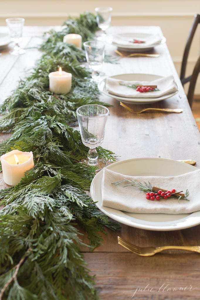 this is a minimal tablescape with winterberries