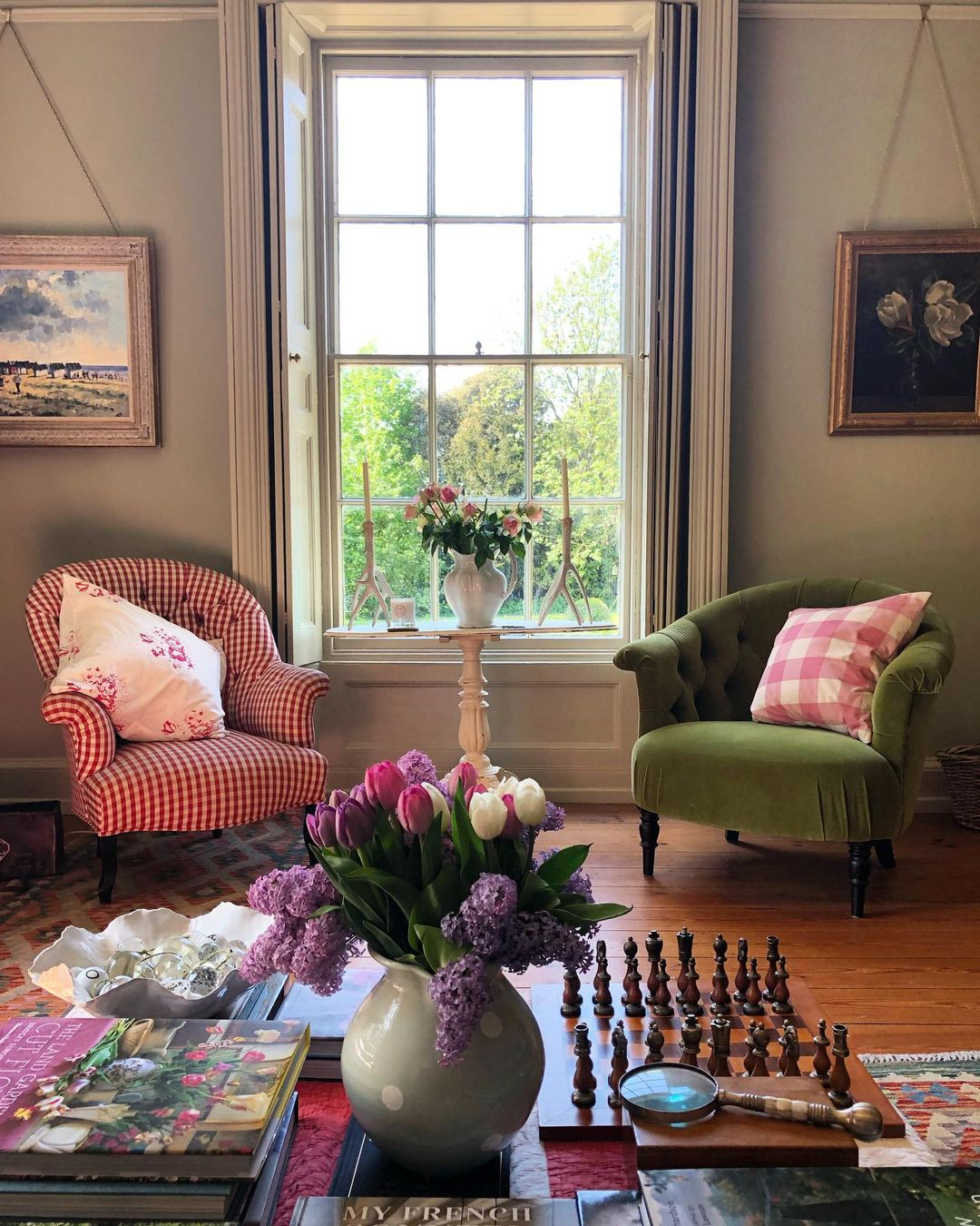 this is a cottagecore inspired livingroom by hill house vintage