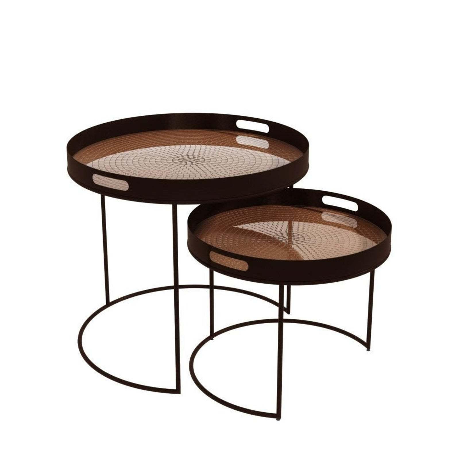 Mid Century Modern set of 2 Round Tables
