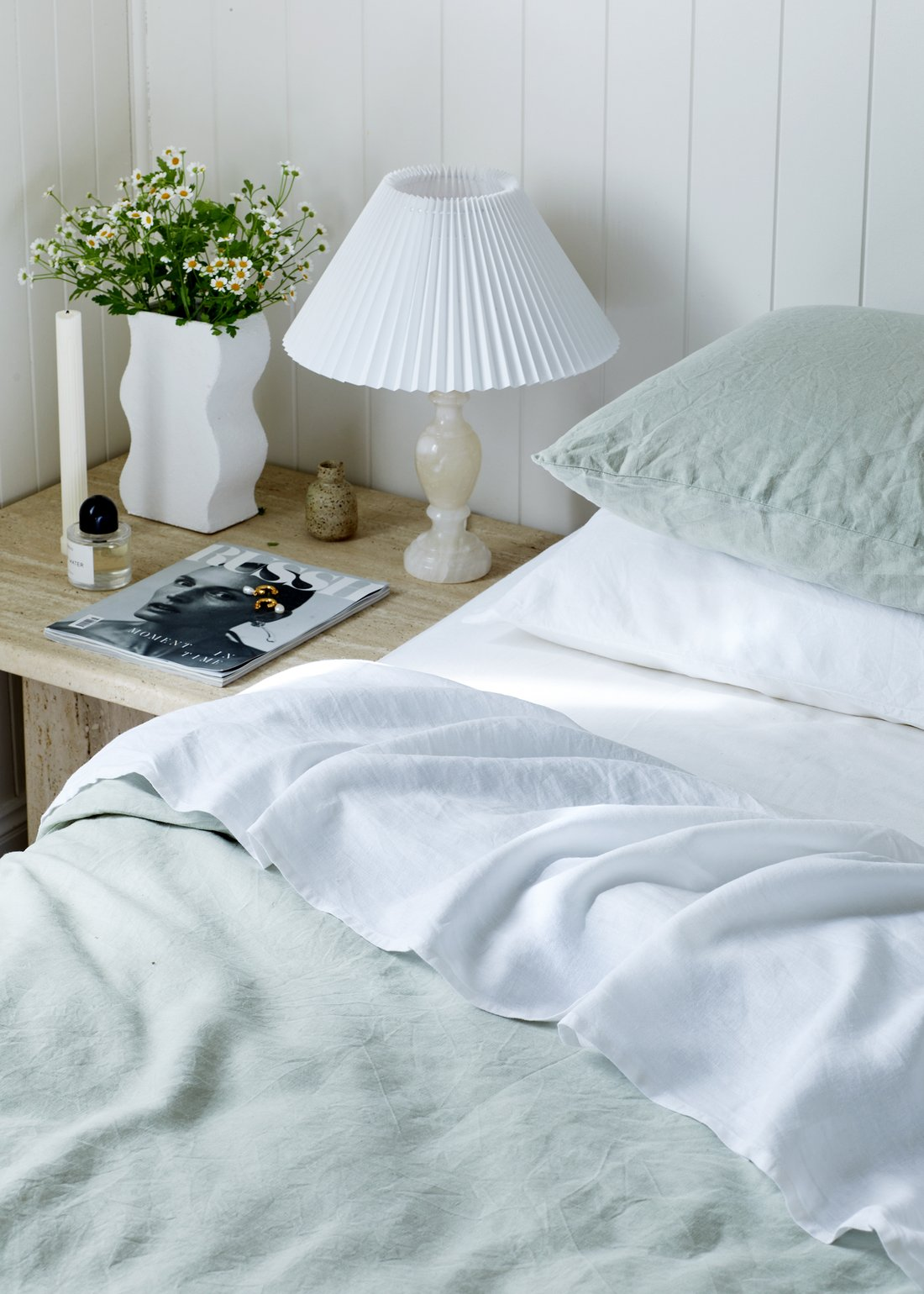 this is a calming bedroom with light tones and textures by lisa danielle smith