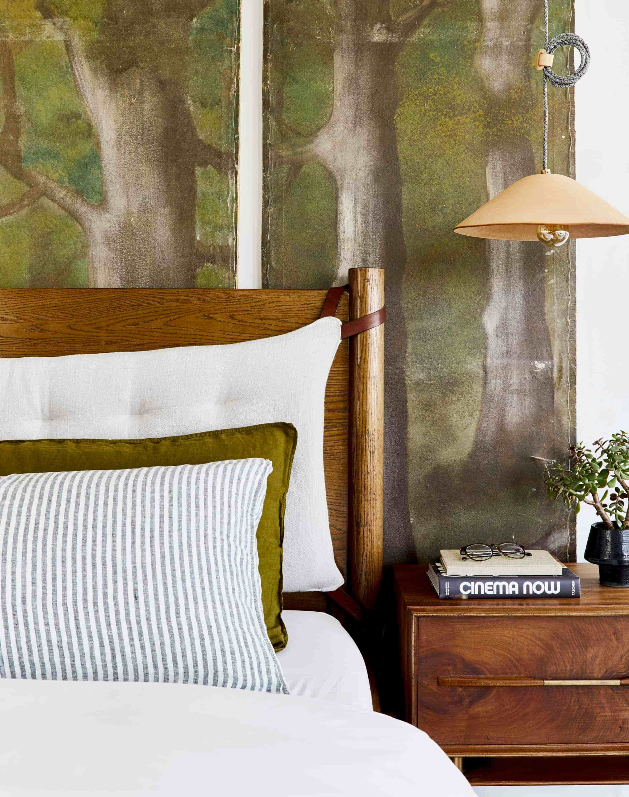 this is a calming bedroom with organic elements by emily henderson