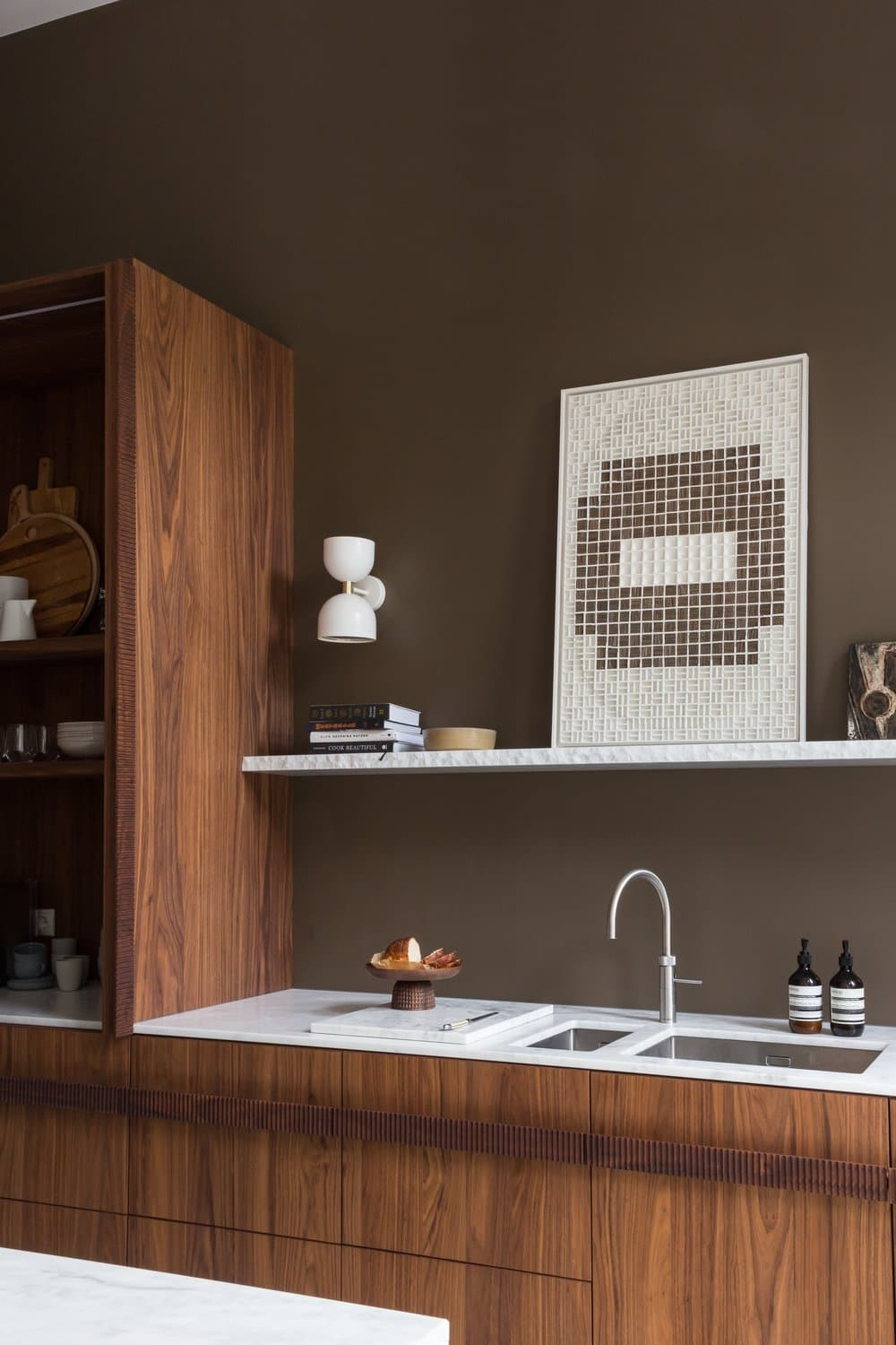 this is a japandi inspired kitchen with an earthy colour palette