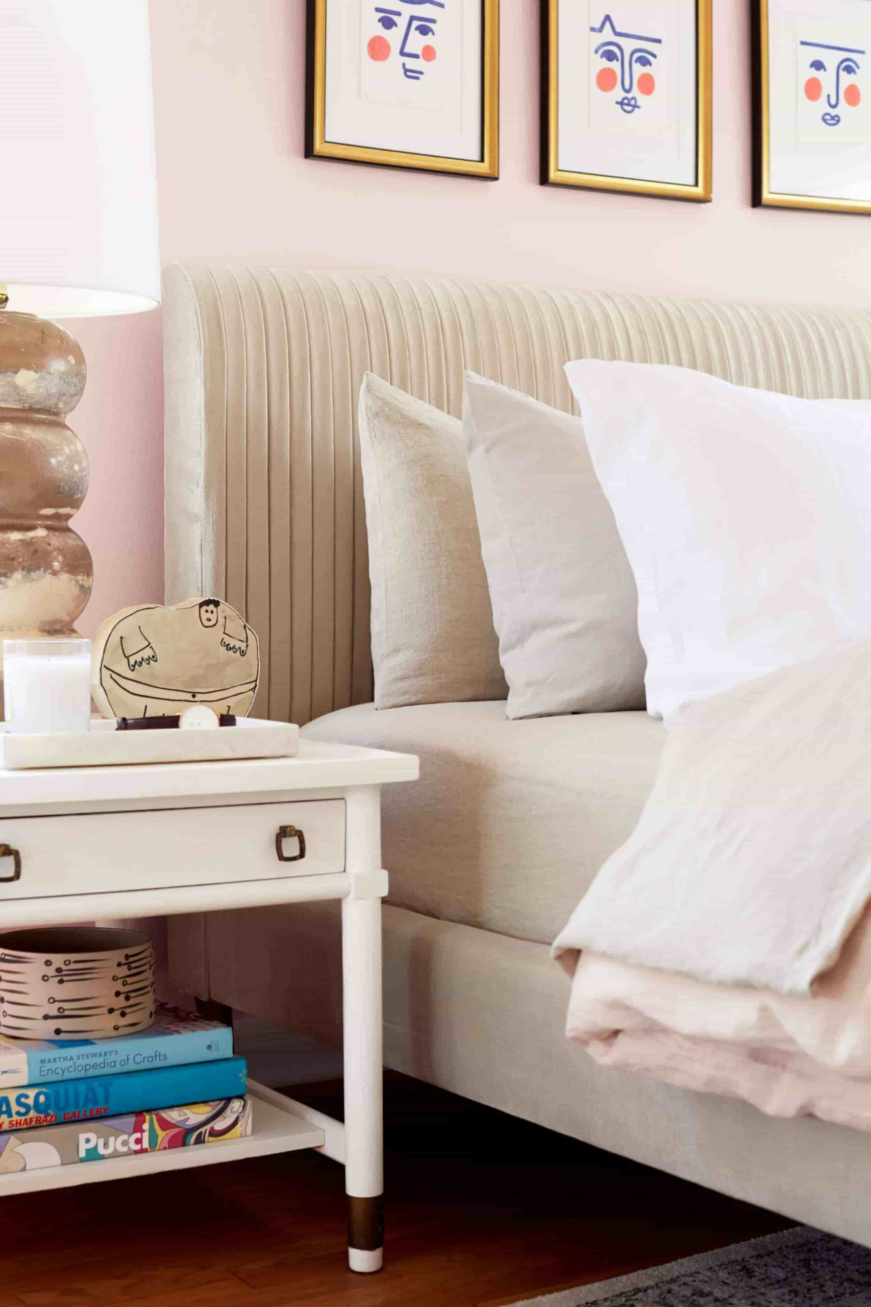 this is a master bedroom with blush pink walls by emily henderson