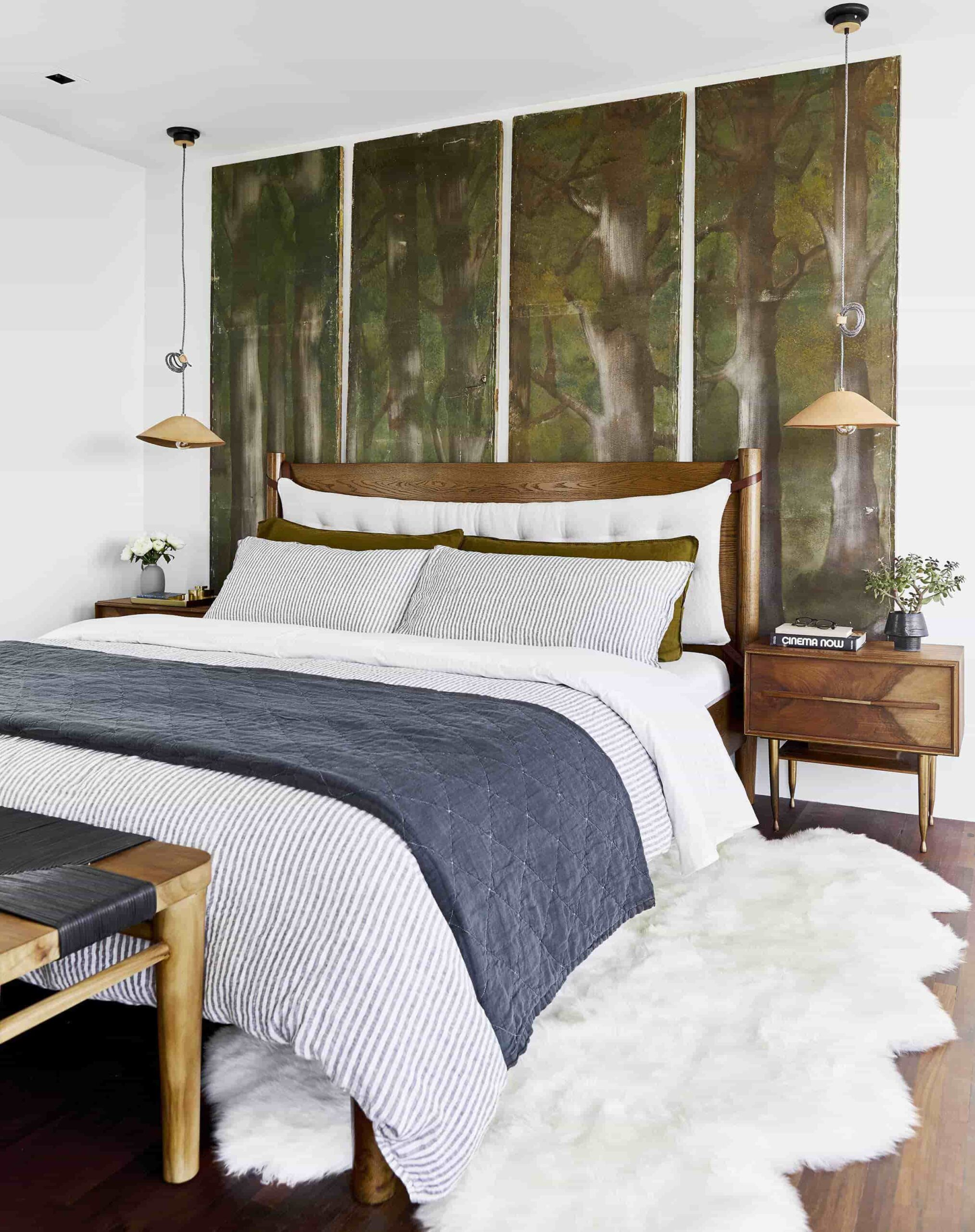 this is bedroom has organic elements by emily henderson