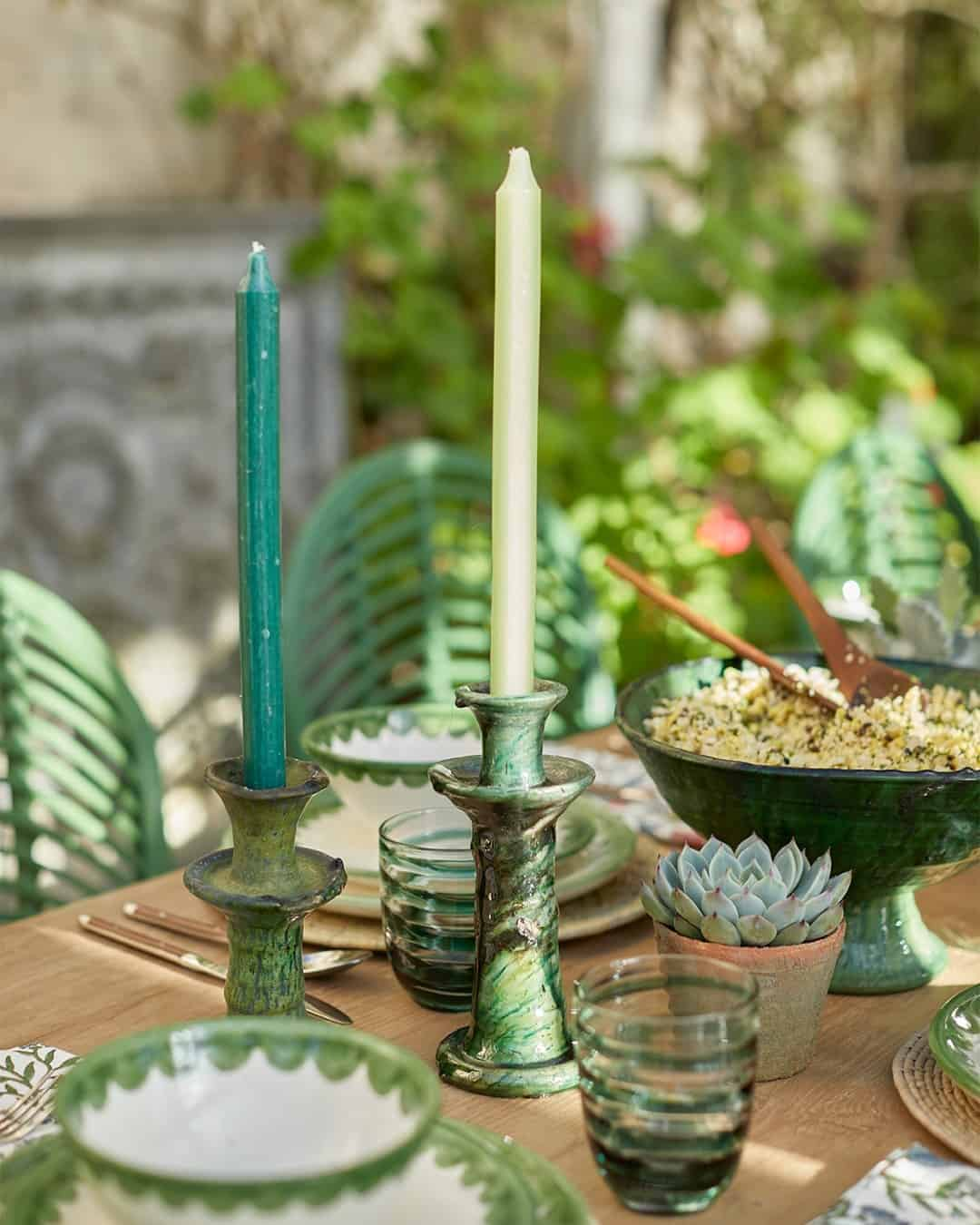 this is a tablescape inspired by green colours by Birde Fortescue