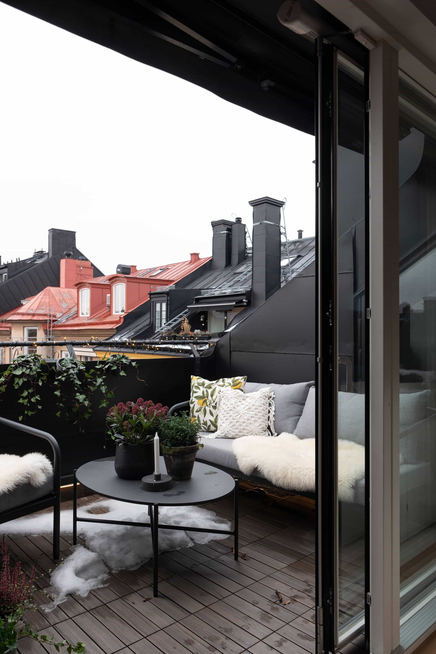 this is a cosy balcony in Scandinavia