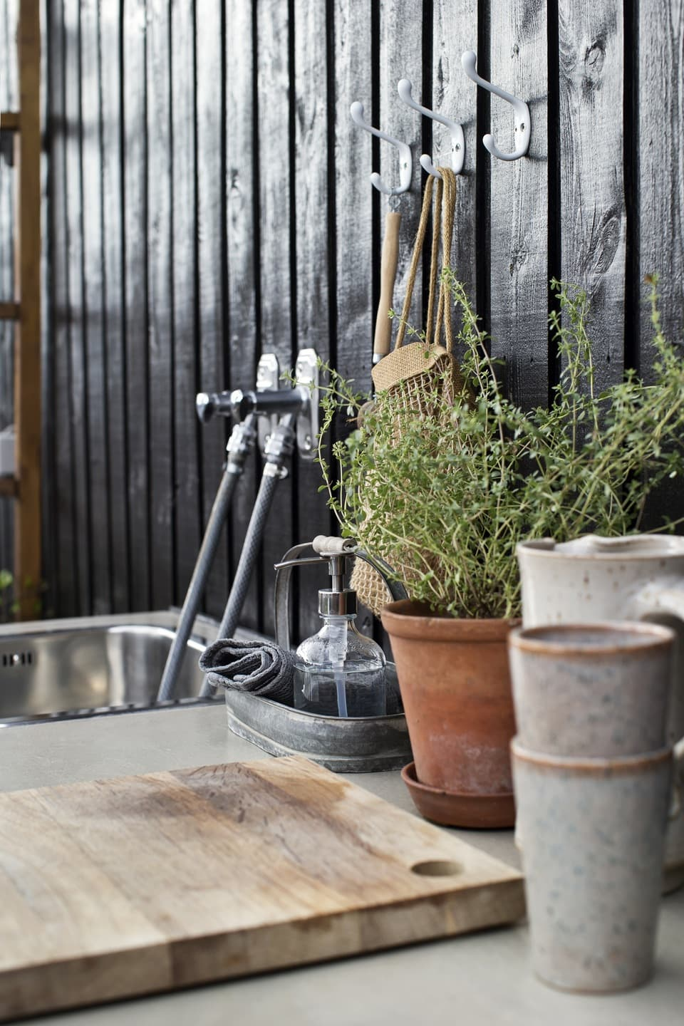 this is a workbench in a garden