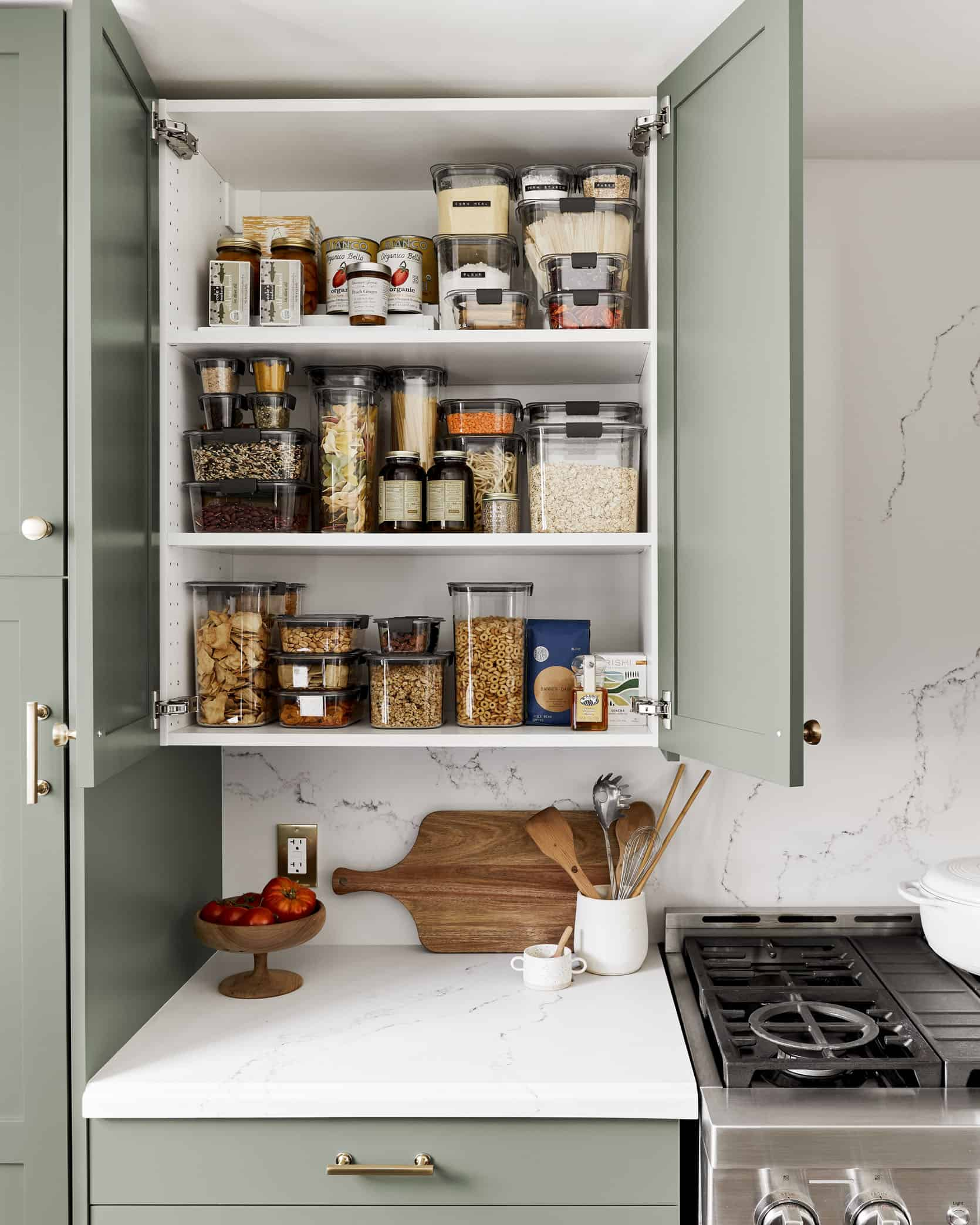 this is a kitchen storage with reusable jars
