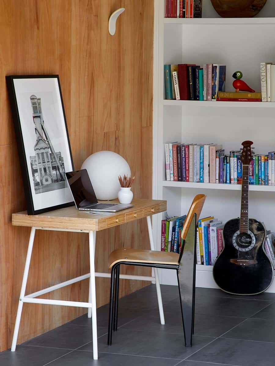this is a modern home office inside a multifunctional shed