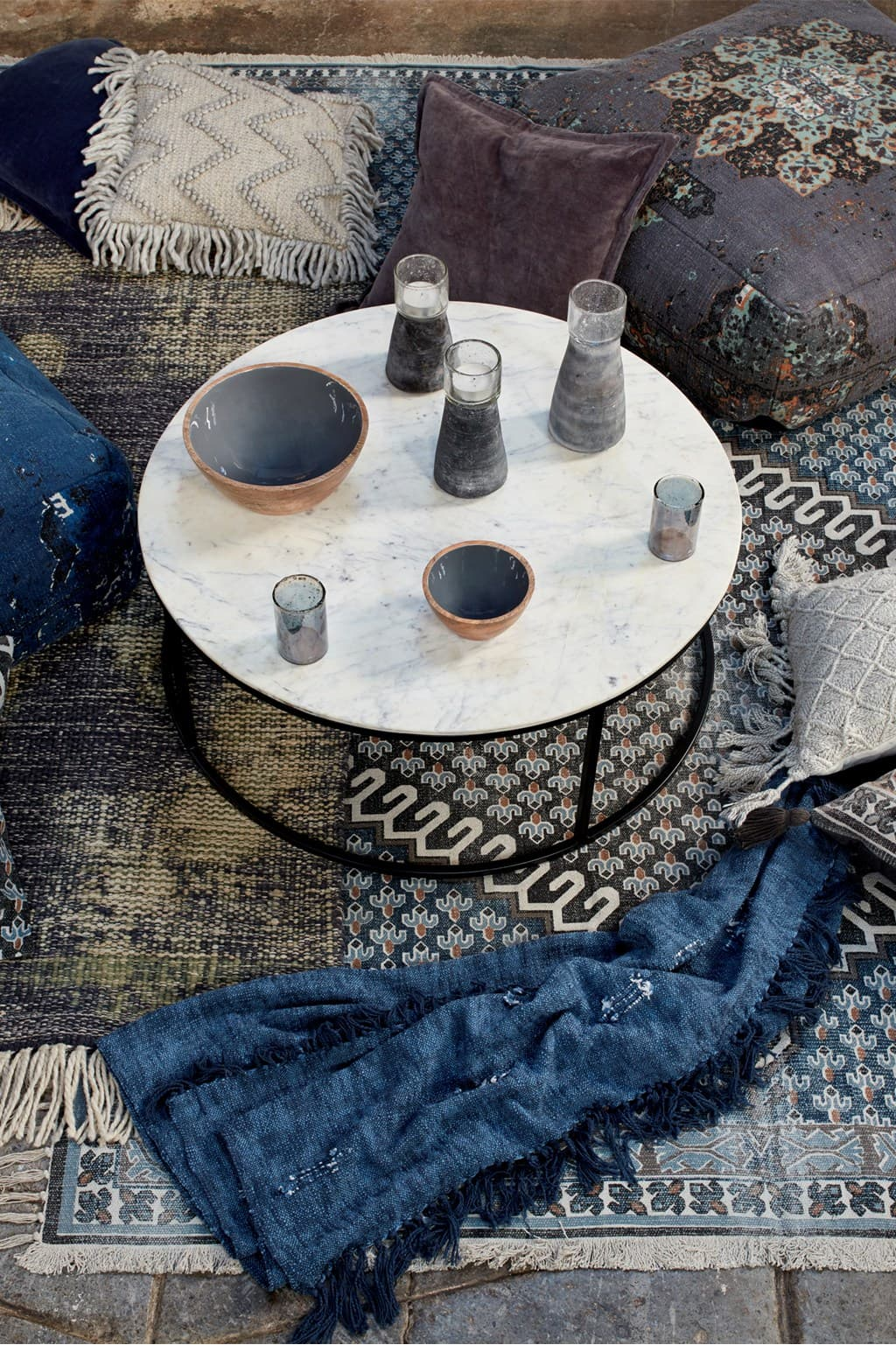 this is a round coffee table by french connection ss21