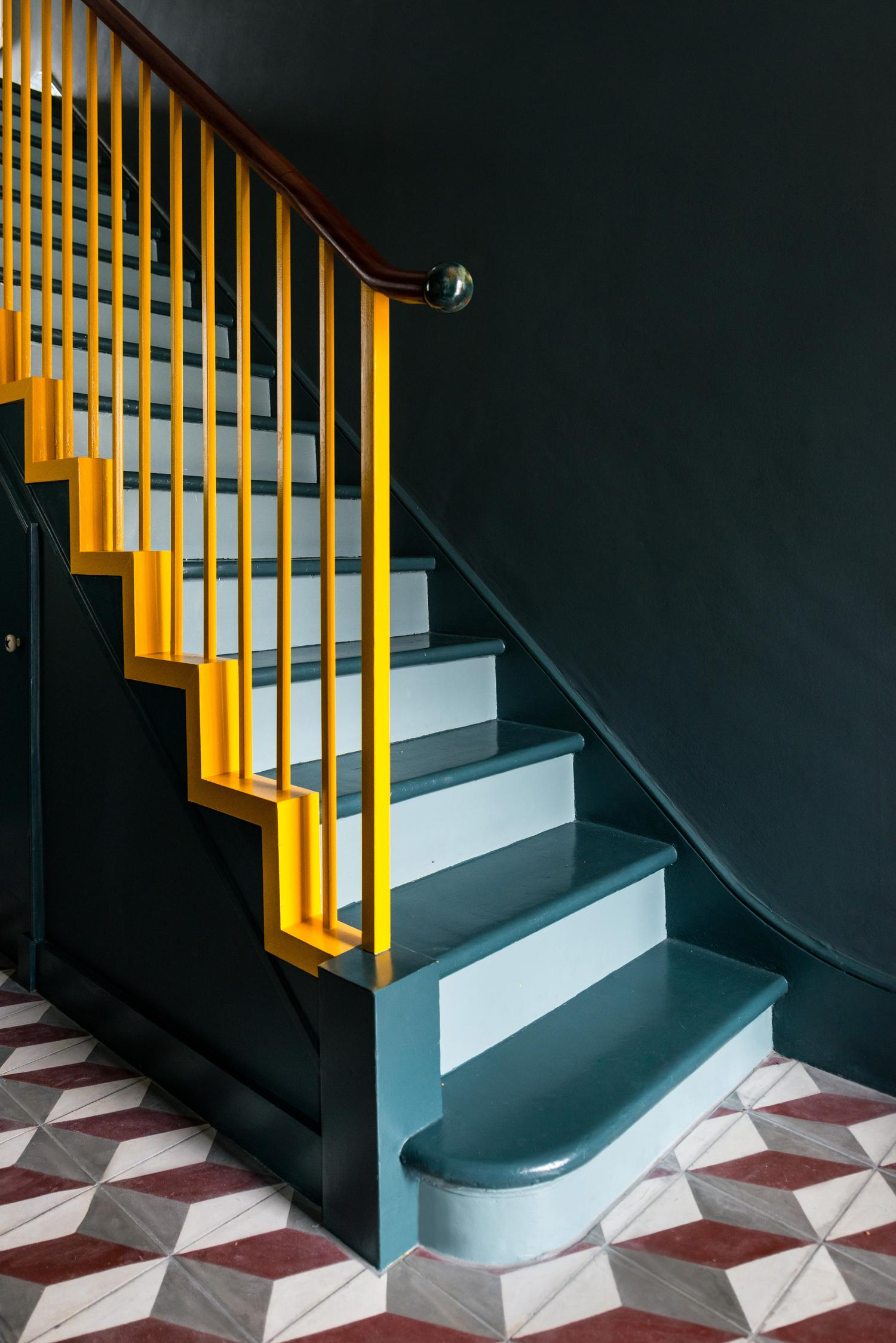 this is a staircase using colour blocking by office s and m