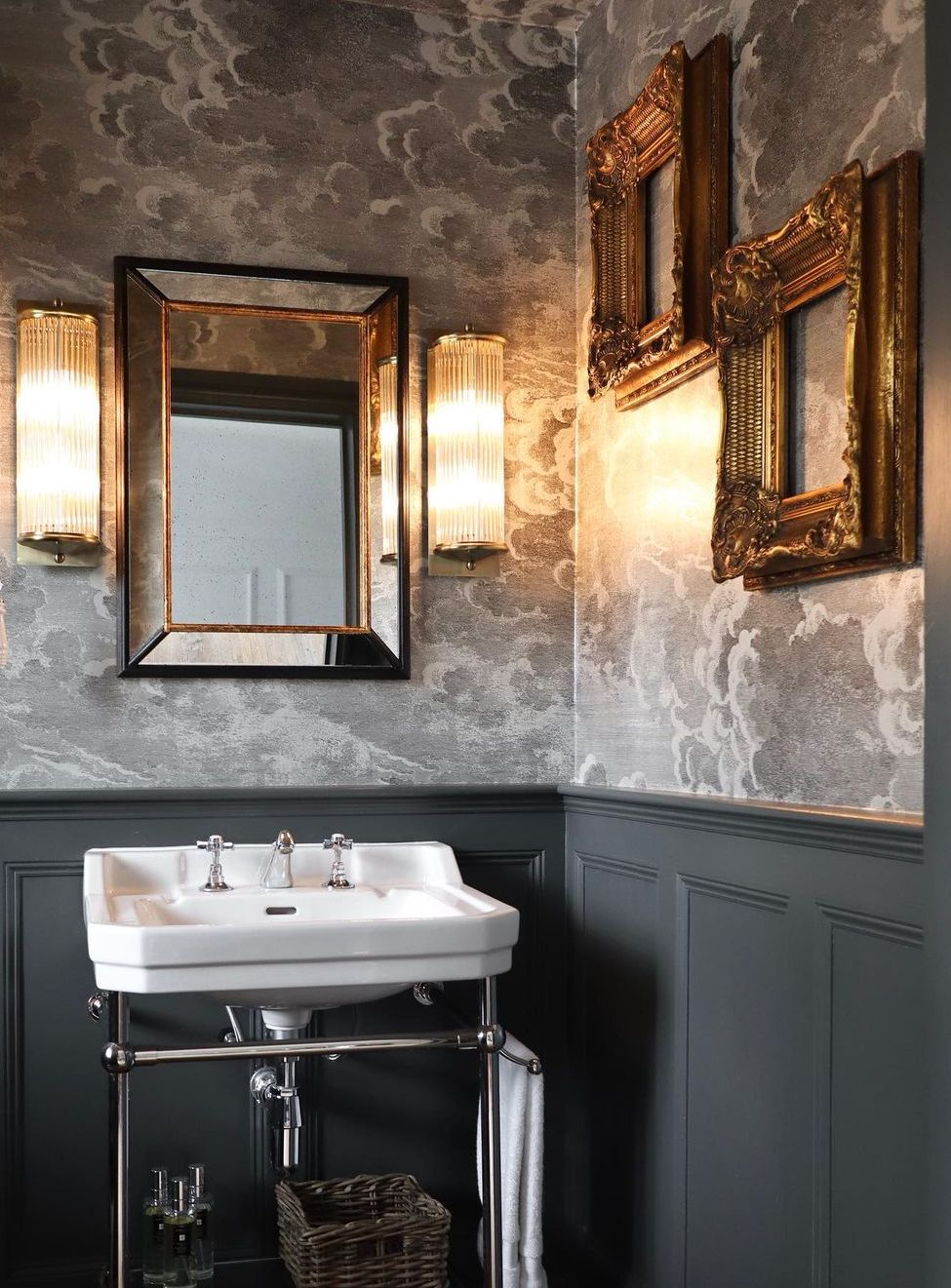 this is lydia millen bathroom with cole and son wallpaper