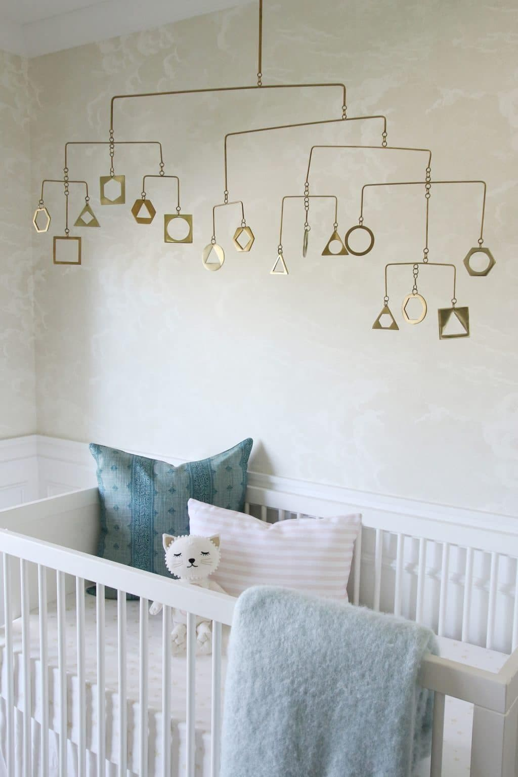 this is a serene nursery by Chris loves Julia with Coles & Son wallpaper