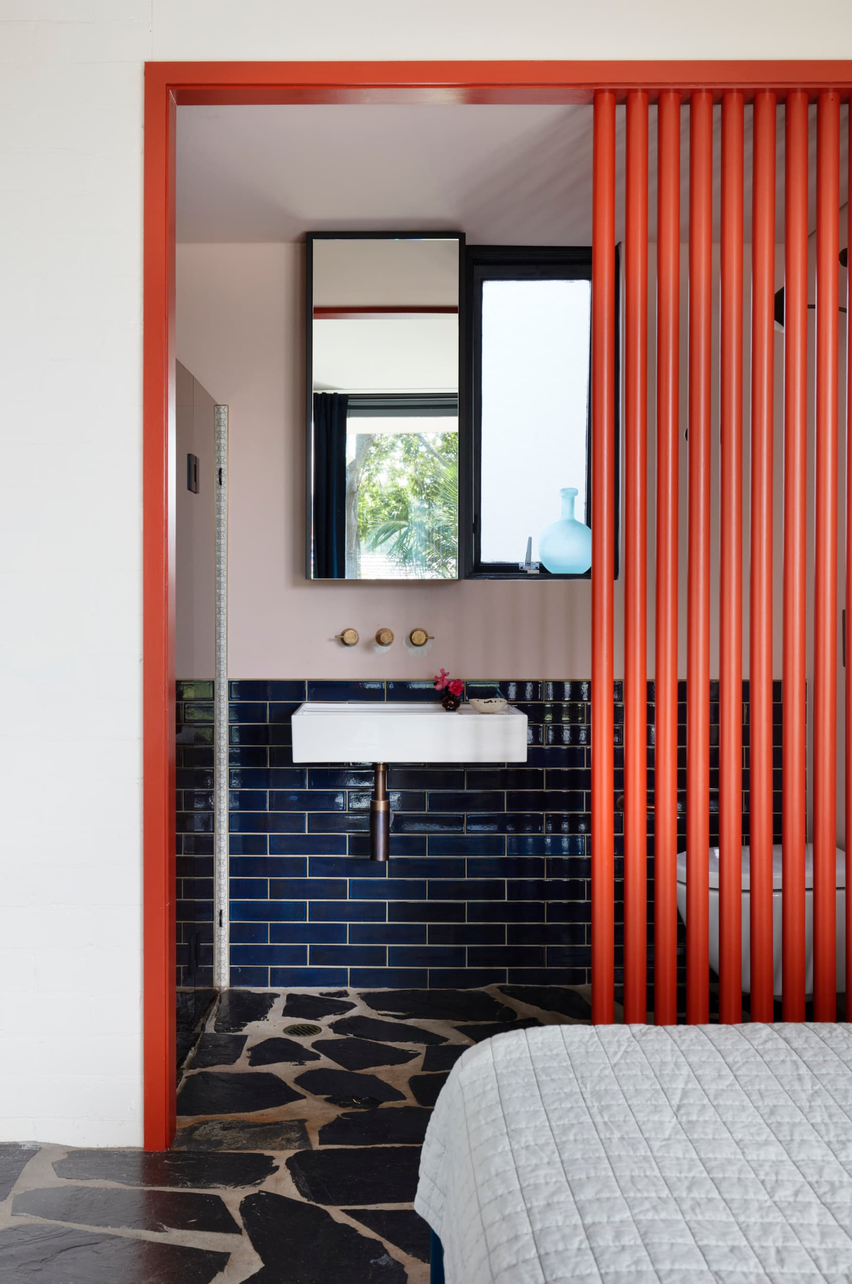 this is an example of colour blocking using accents like doors by YSG studio
