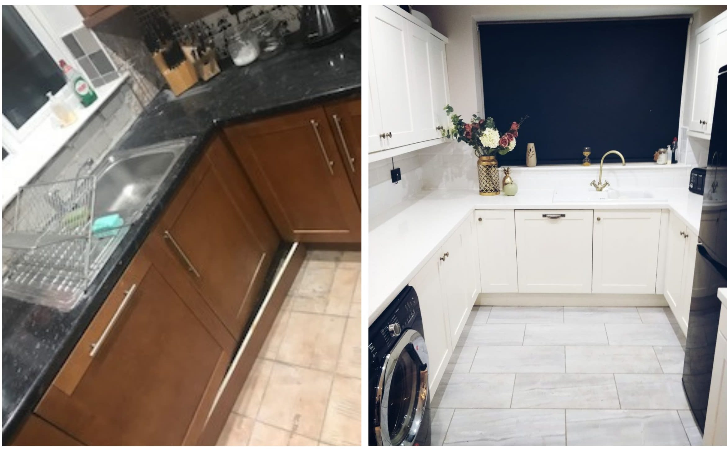 this is a before and after from jackie's kitchen upcycling project