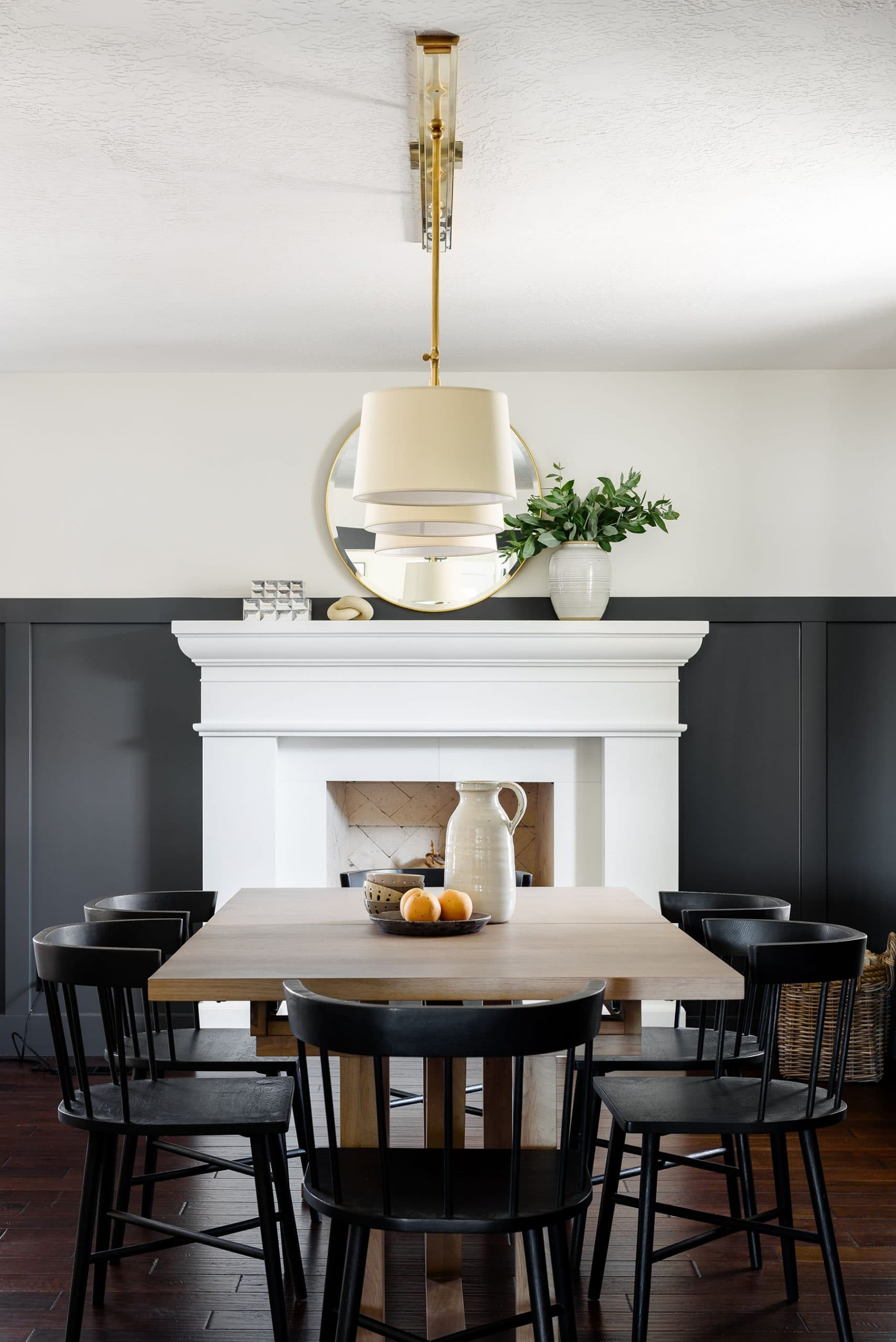 this is a farmhouse inspired home with a dark colour palette by studio mcgee